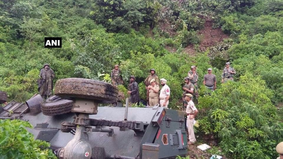 Police said the Army vehicle was on its way to Udhampur town from Srinagar when it hit the cab coming from the opposite direction at Chamalwas.