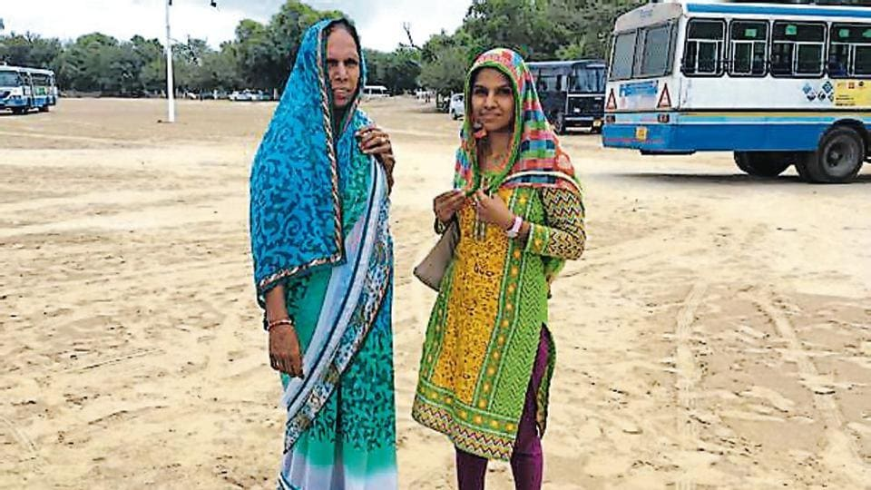 Dera 'premis' Pooja Insan (right) and her mother leave Dera Sacha Sauda's estate in Sirsa to never come back