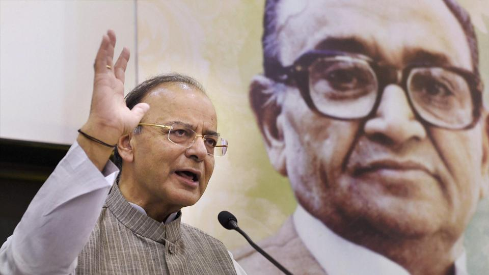 Union finance minister Arun Jaitley delivers Charti Lal Goel Memorial lecture in New Delhi on Friday.