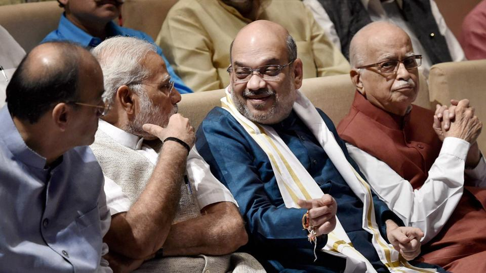 Prime Minister Narendra Modi (left) and BJP president Amit Shah (centre) have gently nudged out old  guards like LK Advani, giving them roles of  mentors to the party.
