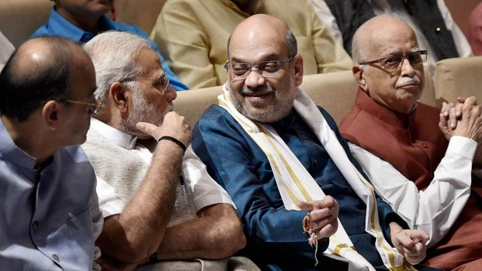 Finance minister Arun Jaitley, Prime Minister Narendra Modi, BJP chief Amit Shah and senior leader LK Advani during a BJP parliamentary party meeting in New Delhi.