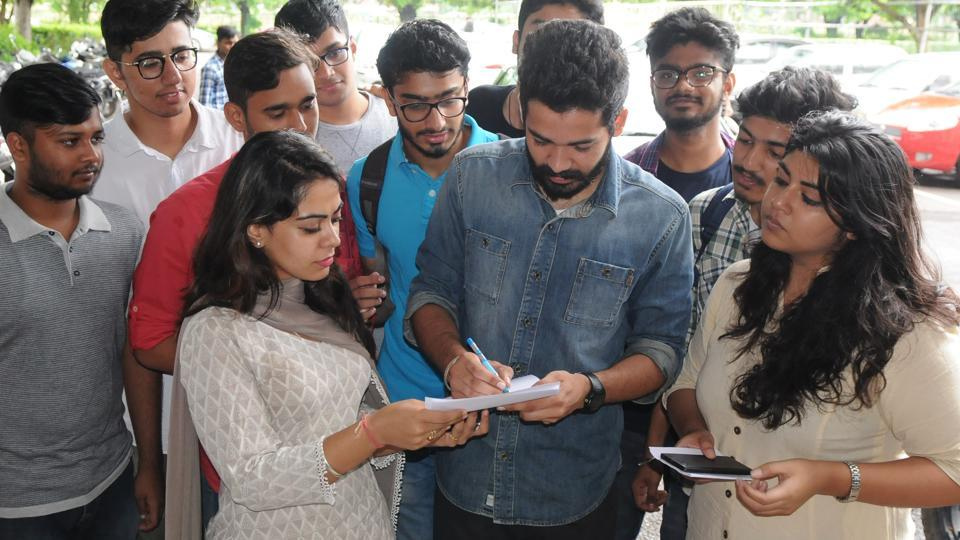 NSUI filing nomination at Physics department in Panjab University, Chandigarh .