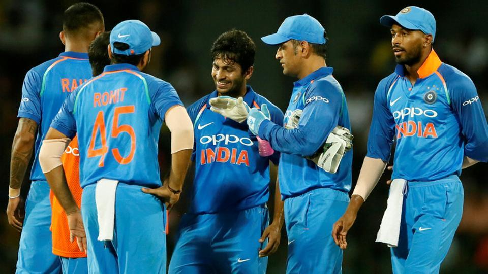 Shardul Thakur celebrates with the vice captain Rohit Sharma and MS Dhoni of India after taking the wicket of Niroshan Dickwella.