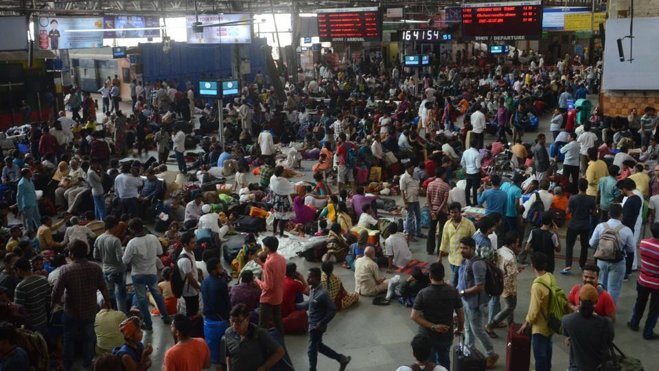 Commuters stranded at CMST during the monsoon.