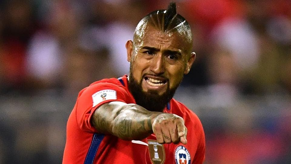 Chile's Arturo Vidal gestures during the 2018 World Cup qualifier football match against Paraguay.