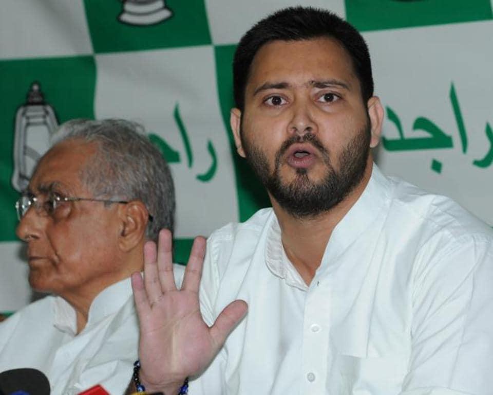 RJD leader Tejashwi Yadav speaking to the media in Patna on Friday.