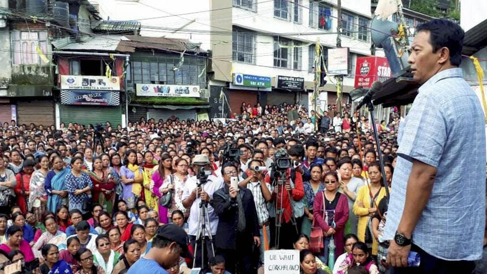 Gorkhaland supporters take part in a mass rally at Mirik in Darjeeling on Thursday.