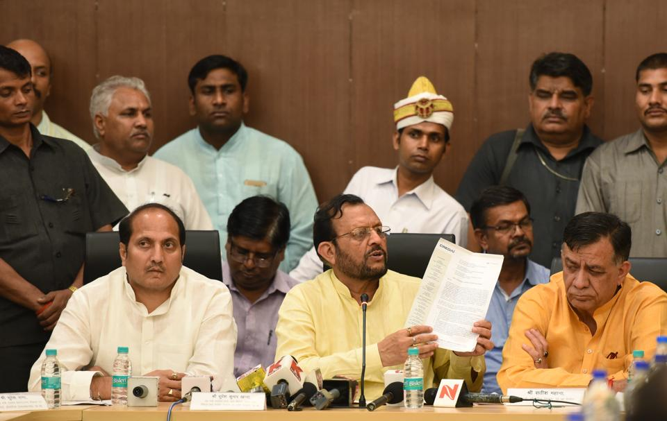 (From left) UP ministers Suresh Rana, Suresh Khanna and Satish Mahana addresses queries on homebuyers' issues during a press conference in Greater Noida on Friday.