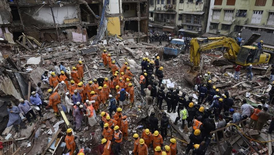 Rescue operation on after a building in Bhendi Bazaar area of Mumbai collapsed on Thursday.