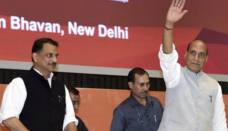 Union Home Minister Rajnath Singh, along with Skill Develoment Minister Rajiv Pratap Rudy, waves at the launch of YUVA, a skill development initiative of Ministry of Skill development and Enterpreneurship (MSDE) and Delhi Police, in New Delhi on Tuesday.