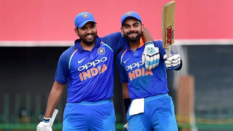 Virat Kohli (L) Rohit Sharma both scored centuries against Sri Lanka during the 4th ODI match in Colombo on Thursday.