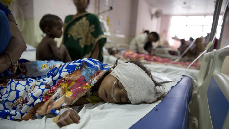 Children receive treatment at the Baba Raghav Das Medical College Hospital where 35 children died in three days in Gorakhpur, Uttar Pradesh,  Aug. 13, 2017.