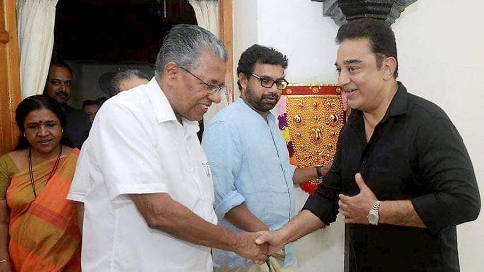 Actor Kamal Haasan being welcomed by Kerala chief minister Pinarayi Vijayan at his official residence in Thiruvananthapuram on Friday.