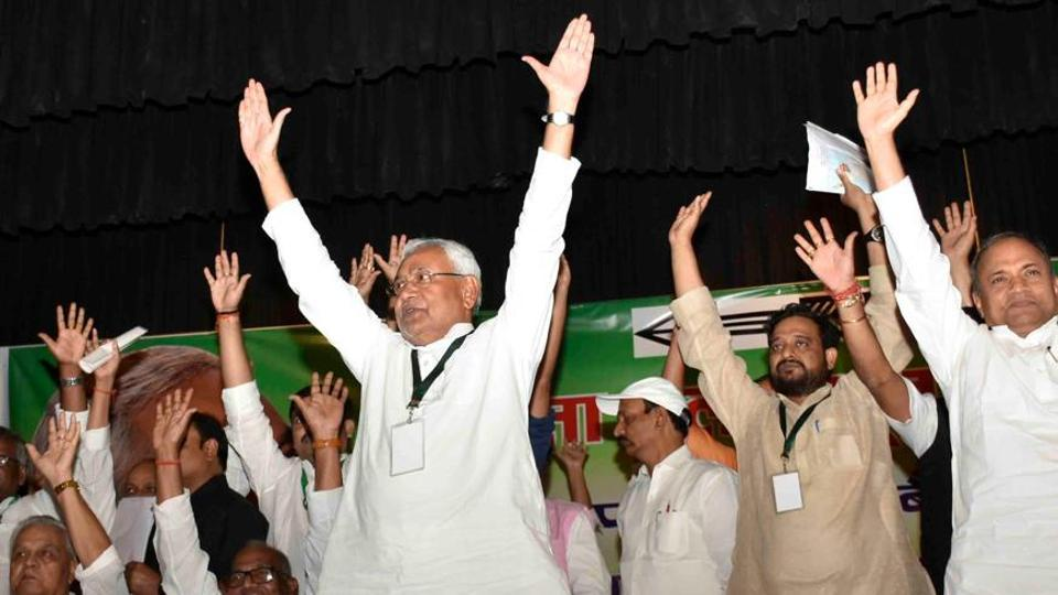 Chief minister Nitish Kumar with other JD(U) leaders at a national executive meeting of the party in Patna. In a dramatic move, Kumar announced his party was breaking away from the grand alliance with the RJD and joining the BJP-led NDA.