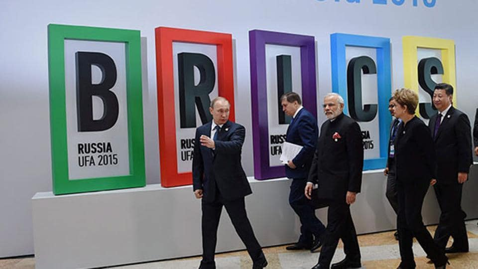 PM Modi with Russian President Vladimir Putin, Brazilian President Dilma Rousseff, Chinese President Xi Jinping and South African President Jacob Zuma after the welcome ceremony at the 7th BRICS Summit in Ufa.