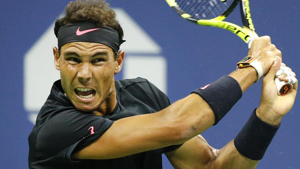 Rafael Nadal in action against Taro Daniel during their USOpen second round encounter.