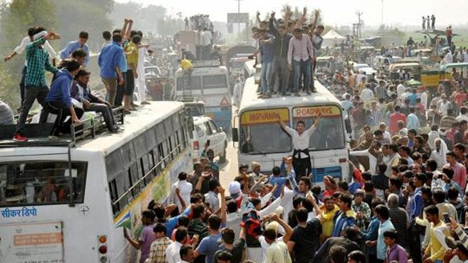 File photo of Jat protesters blocking traffic on the Panipat-Rohtak national highway during their February agitation for reservation in February.