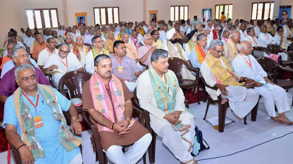 RSS leaders during the three-day annual meeting at Keshav Dham, Vrindavan near Mathura, on Friday.