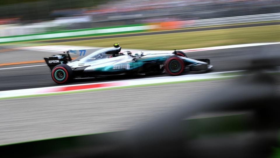 Mercedes' Finnish driver Valtteri Bottas during the first practice session at the Autodromo Nazionale circuit in Monza on Friday, ahead of the Formula One Italian Grand Prix. Mercedes has extended Bottas' contract to next year as well.