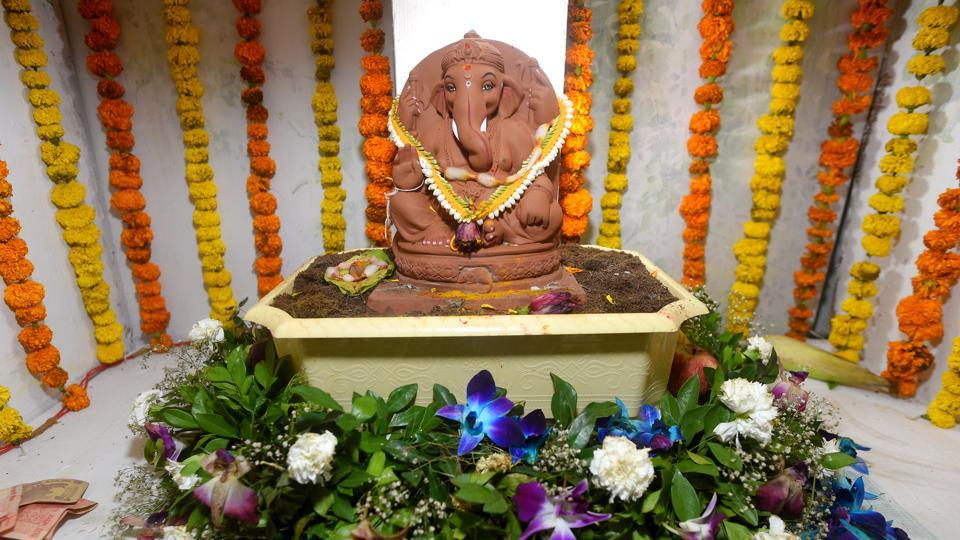 A Ganesha idol made of clay by Dattadri Kothur at Lower Parel  on Thrusday.