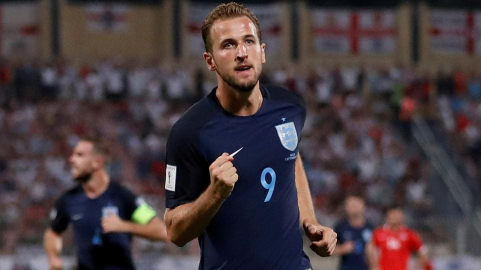 England's Harry Kane celebrates after scoring their first goal against Malta at the 2018 FIFA World Cup qualifiers.