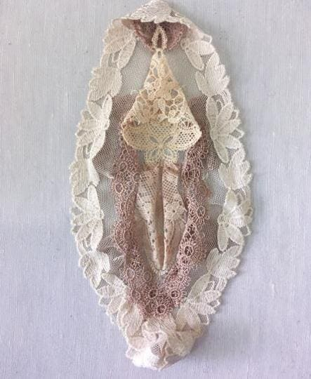 Sarah Naqvi sews strips of gauzy material into shapes resembling the clitoris, uses bright red thread to fill in the 'bloody' crotch of a piece of woman's underwear. 'With every stitch, I hope to challenge misconceptions about embroidery and needlework,' she says.