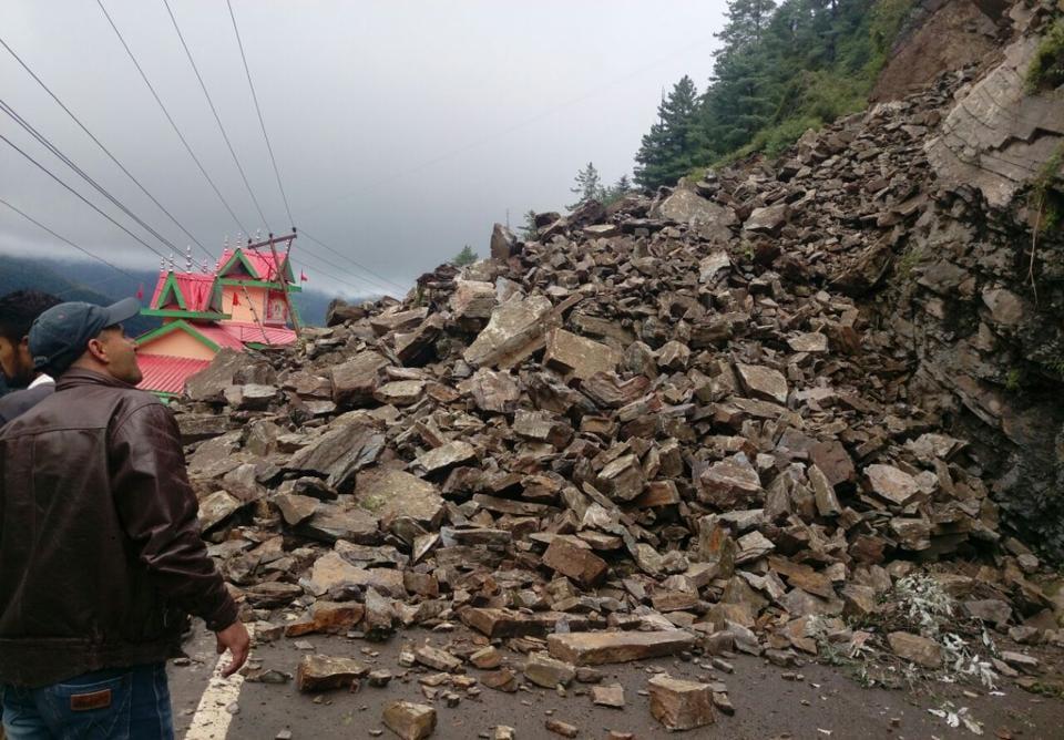 Massive landslide along the Chandigarh-Shimla highway in Himachal Pradesh on Saturday.