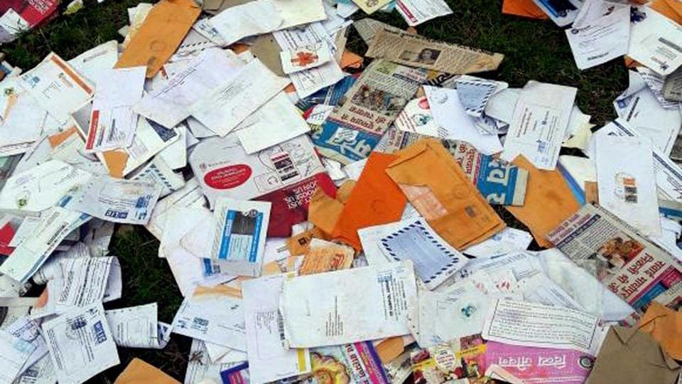 Undelivered letters and marriage invitations were dumped at a forest in Alwar district.
