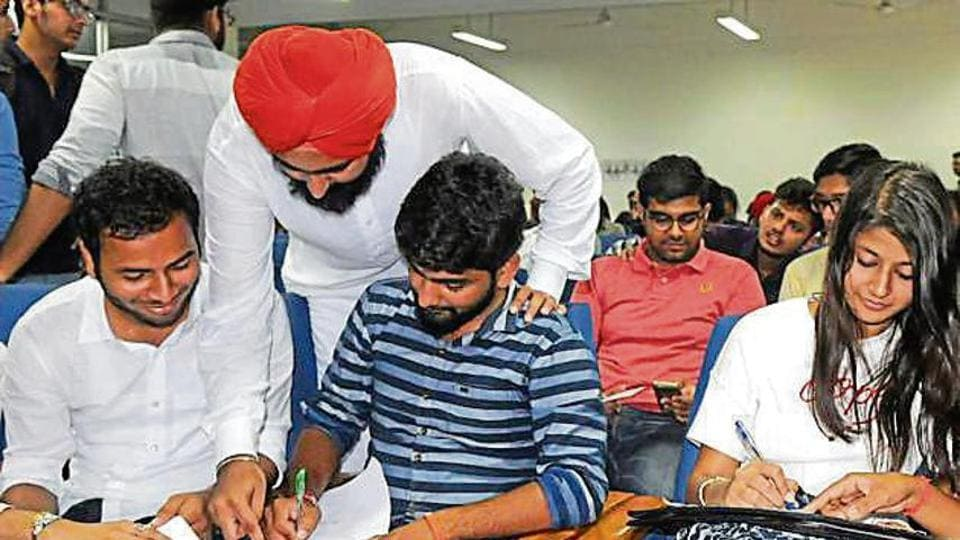 Members of PUSU, SOI, NSUI and ABVP filing nominations in Panjab University, Chandigarh, on Friday.