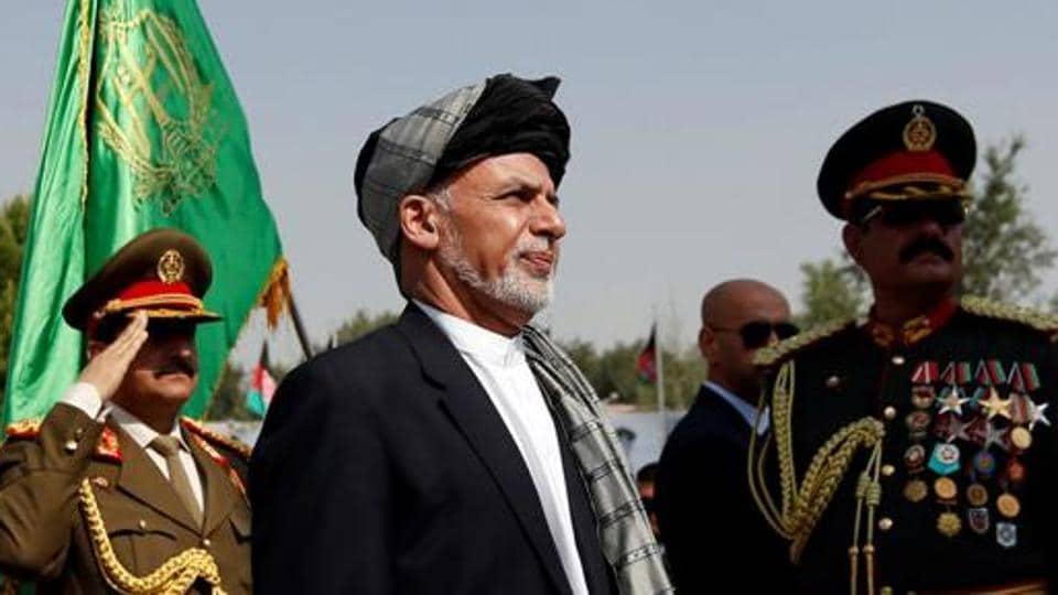 Afghan President Ashraf Ghani attends Afghan Independence Day celebrations in Kabul.