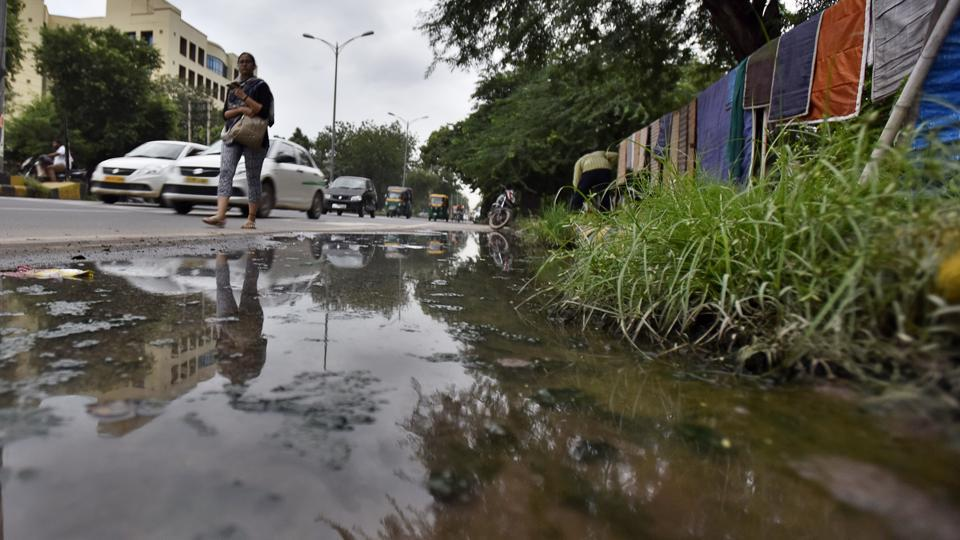 Stagnant water on MG Road.