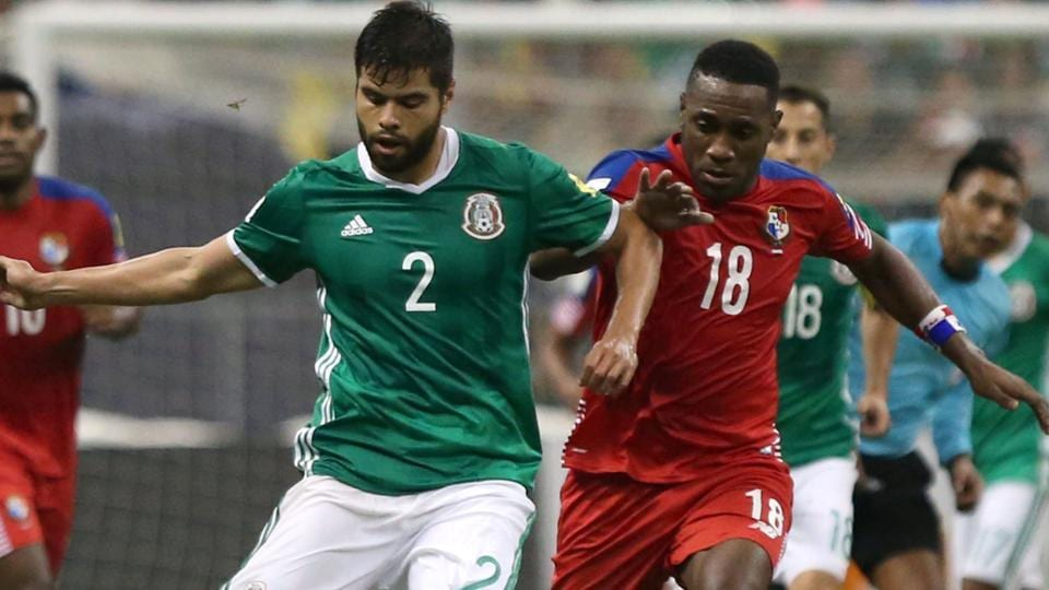 Mexico's player Nestor Araujo and Panama's player Luis Tejeda in action during their 2018 FIFAWorld Cup qualifier.