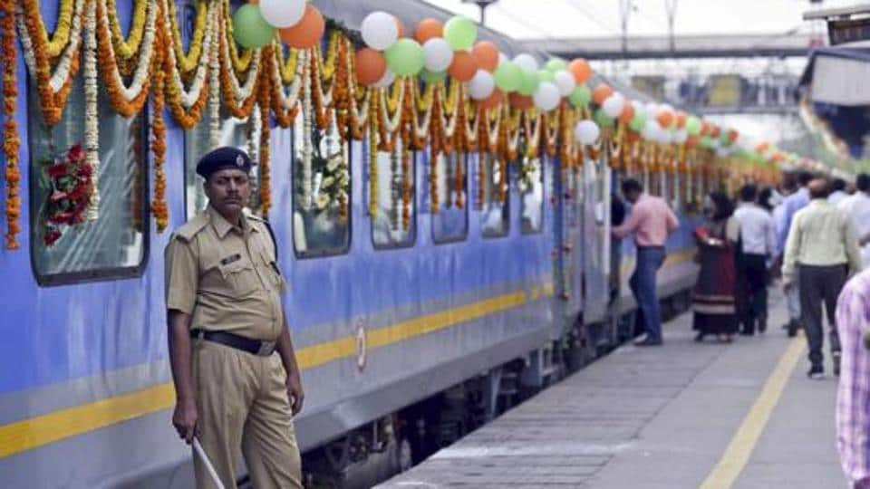 Gatiman Express, India's first semi-high speed train ready to be flagged off the first time at Nizamudin Railway Station in New Delhi in April 2016.
