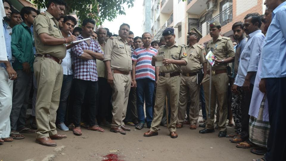 The spot where the BJP's Khoda head Balbir Chauhan and local leader Gajendra Bhati  were waylaid by two armed bikers in Indira Nagri area of Mangal Bazar.