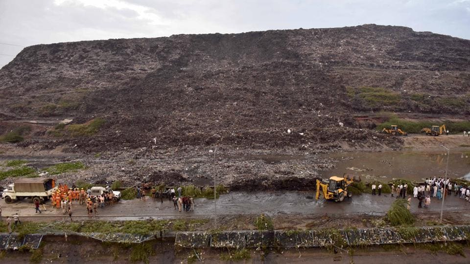 Two people died in East Delhi after a part of the Ghazipur garbage landfill collapsed on Friday.