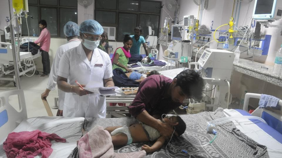 Children being treated at the BRD medical college in Gorakhpur.
