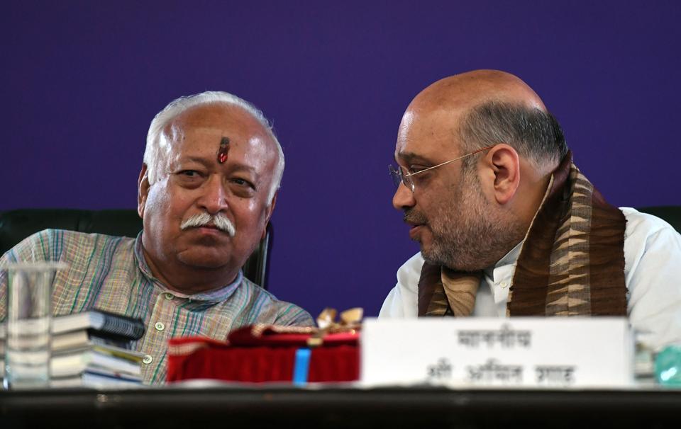 BJP president Amit Shah met RSSchief Mohan Bhagwat in Vrindavan.
