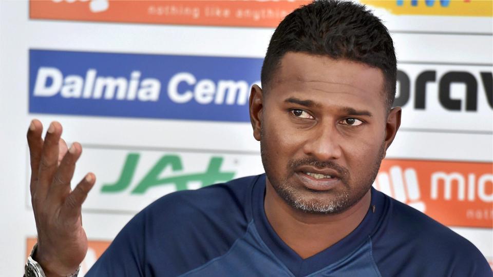 Sri Lankan batting coach Avishka Gunawardene addresses a press conference in Colombo, Sri Lanka, on Saturday.