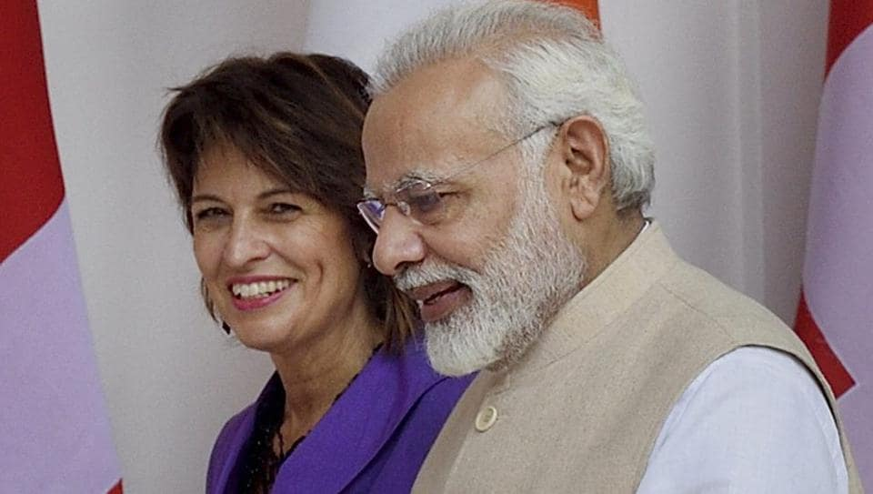 Prime Minister Narendra Modi with Doris Leuthard, president of the Swiss Confederation before a meeting at Hyderabad House in New Delhi on August 31, 2017.