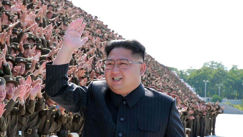 This undated picture released by North Korea's official Korean Central News Agency (KCNA) on September 2, 2017 shows North Korean leader Kim Jong-Un (C) attending a photo session with participants of the fourth conference of active secretaries of primary organisations of the youth league of the Korean People's Army (KPA) in Pyongyang.