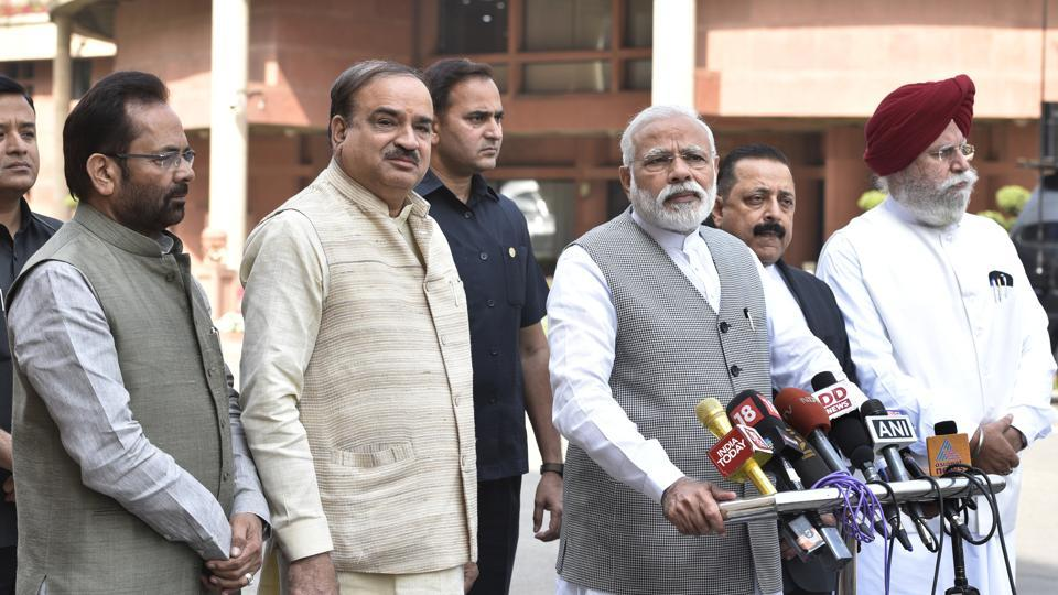 Prime Minister Narendra Modi with some of his cabinet colleagues. Modi will reshuffle the council of ministers on Sunday.