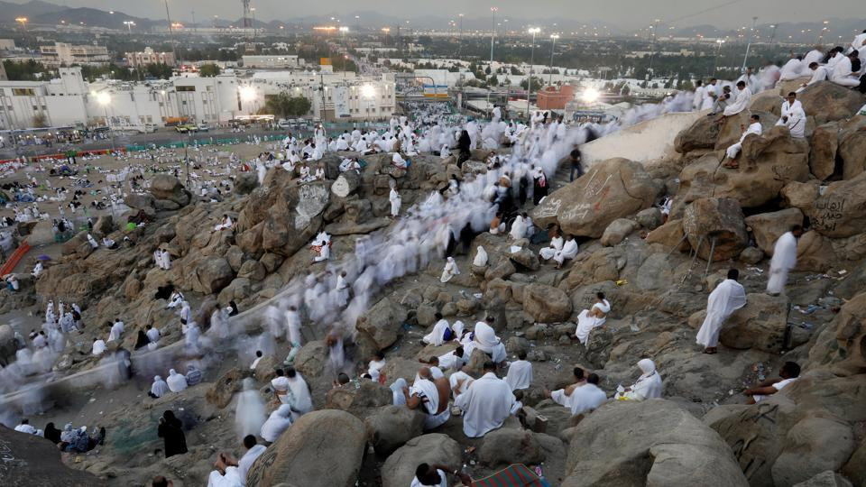 Muslim pilgrims gather on Mount Mercy on the plains of Arafat during the annual haj pilgrimage, outside the holy city of Mecca, Saudi Arabia . (Suhaib Salem  / REUTERS)
