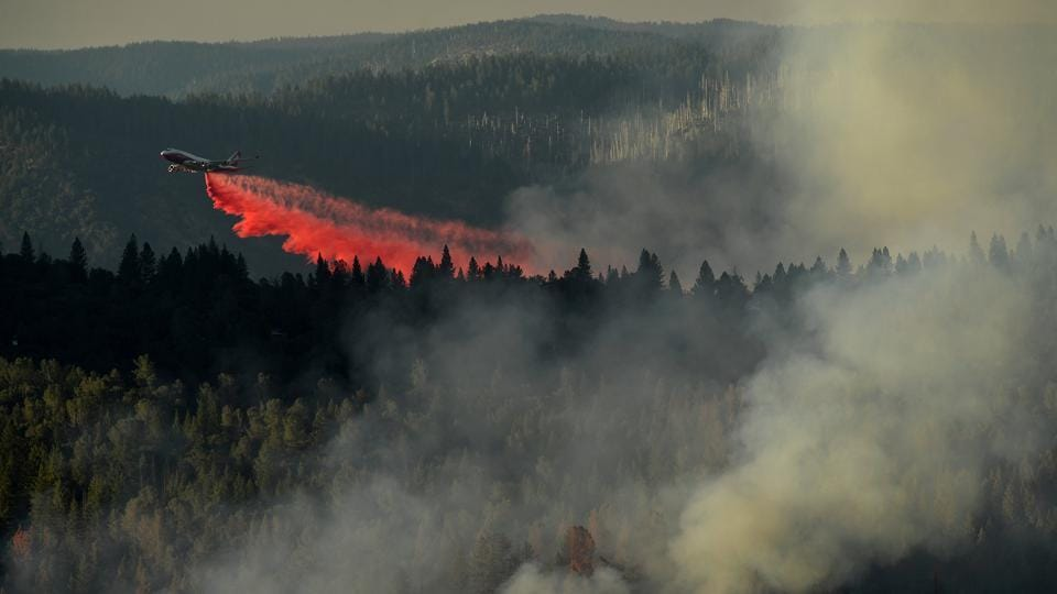 A 747 SuperTanker drops retardant while battling the Ponderosa Fire east of Oroville, California, U.S. (Noah Berger  / REUTERS)