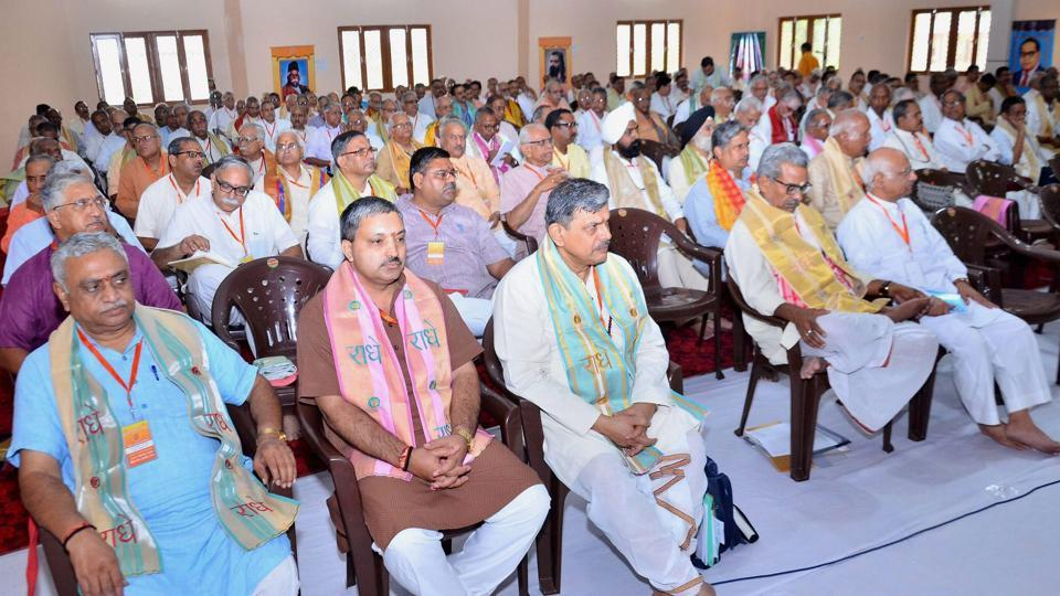 RSS leaders during the three-day annual meeting at Keshav Dham, Vrindavan, on Friday.
