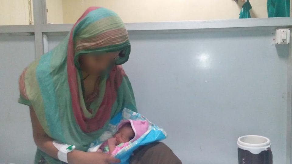 Soniya Bano, who was abandoned by her husband on Tuesday, a day after she gave birth to a baby girl.