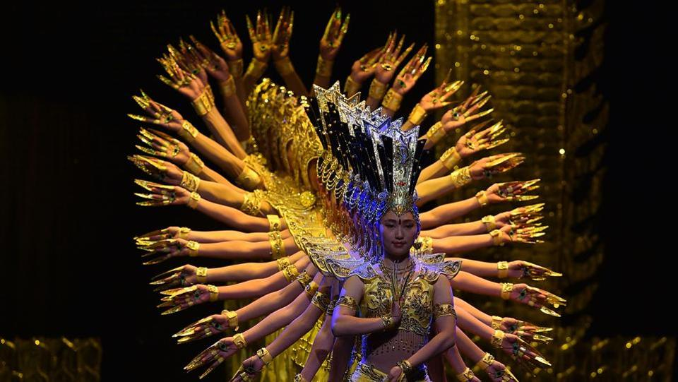 Members of the China Disabled Peoples Performing Art Troupe perform