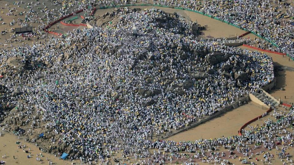 An aerial view shows Muslim pilgrims gathering on Mount Arafat, also known as Jabal al-Rahma (Mount of Mercy), southeast of the Saudi holy city of Mecca, on Arafat Day which is the climax of the Hajj pilgrimage on August 31, 2017. Arafat is the site where Muslims believe the Prophet Mohammed gave his last sermon about 14 centuries ago after leading his followers on the pilgrimage.  (KARIM SAHIB / AFP)