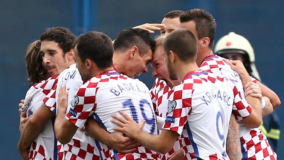 Croatia's Domagoj Vida celebrates scoring the winning goal against Kosovo in their FIFAWorld Cup qualifier.