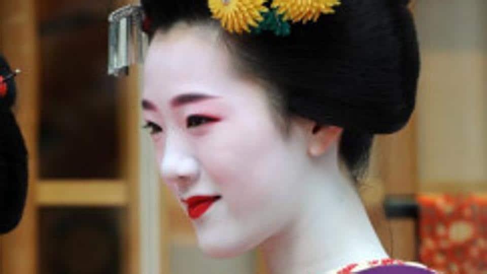 A traditionally dressed maiko, or geisha apprentice.