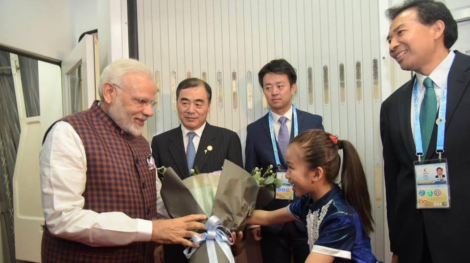 Prime Minister Narendra Modi arrives at Xiamen Gaoqi International Airport for BRICS summit on Sunday.